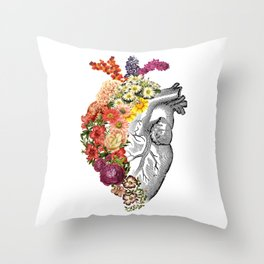 Flower Heart Spring White Throw Pillow