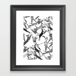 dog party black white Framed Art Print