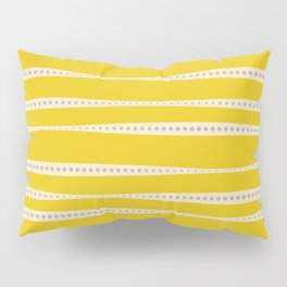 Abstract wavy stripes in mustard yellow, grey, and off-white Pillow Sham