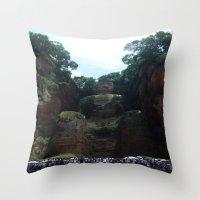 buddah Throw Pillows featuring Lehan Giant Buddah by LittleBettysBoutique