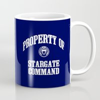 stargate Mugs featuring Property of Stargate Command Athletic Wear White ink by RockatemanDesigns