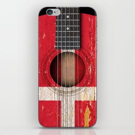 Old Vintage Acoustic Guitar with Danish Flag iPhone Skin