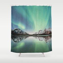 Northern Lights in Flakstad Norway Artwork Shower Curtain
