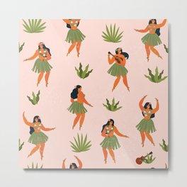 Hawaiian hula dancers young pretty woman  Metal Print