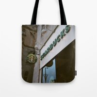 starbucks Tote Bags featuring Starbucks in Manchester by Stina Nilsson