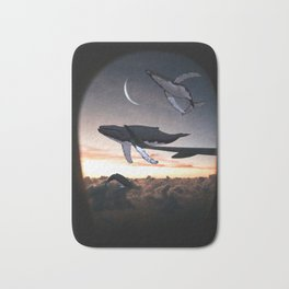 Looking Out The Window-Flying Whales Above The Clouds Bath Mat