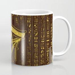 Golden Egyptian Eye of Horus  and hieroglyphics on wood Coffee Mug