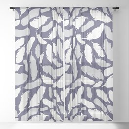 Feather Pattern Blue Sheer Curtain