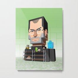 Steve Jobs 3D pixel portrait Metal Print