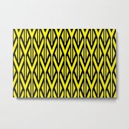 triangles line stripes geometry - yellow Metal Print