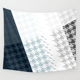 Modern Houndstooth Reinterpreted A – Navy / Gray / White Checked Pattern Wall Tapestry