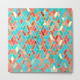 Melon and Aqua Geometric Tile Pattern Metal Print