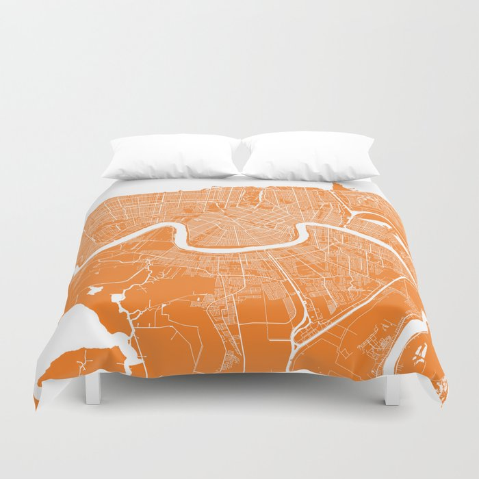 New Orleans map orange Duvet Cover