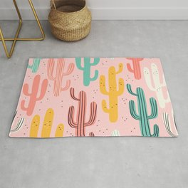Cute cactus cartoon style drawing on pink pastel background vintage illustration pattern Rug