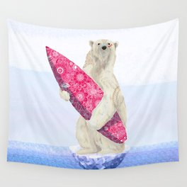 Polar bear & Surf (pink) Wall Tapestry