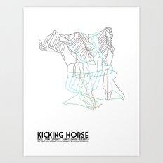 Kicking Horse, BC, Canada - Minimalist Trail Map Art Print