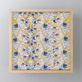 Gray Yellow Watercolor Floral Framed Mini Art Print