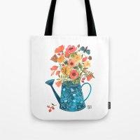 oana befort Tote Bags featuring Garden Flowers by Oana Befort