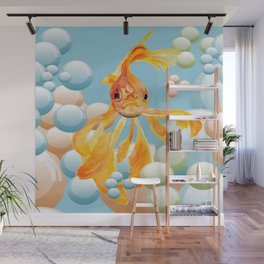 Vermillion Goldfish Blowing Bubbles Wall Mural