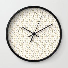 Gold Roses Rosette Pattern on White Wall Clock