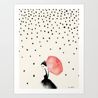 karen hallion Art Prints featuring Polka Rain by Karen Hofstetter
