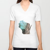 wisconsin V-neck T-shirts featuring Wisconsin ii by Isabel Moreno-Garcia