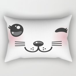 Kawaii funny cat with pink cheeks and winking eyes on white background Rectangular Pillow