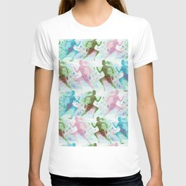 Watercolor women runner pattern T-shirt