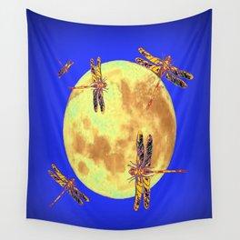 Golden Dragonflies Love Moon Light Wall Tapestry