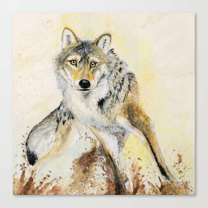 Totem Wolf: Grey wolf Canvas Print