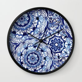 Delft Blue Mandalas Wall Clock