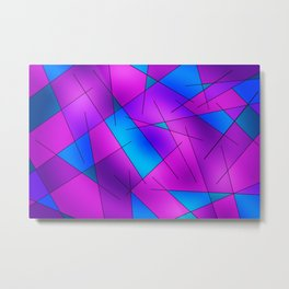 ABSTRACT LINES #1 (Purples, Violets, Fuchsias & Turquoises) Metal Print