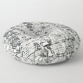 The Eternal Return of the Unique Event (P/D3 Glitch Collage Studies) Floor Pillow