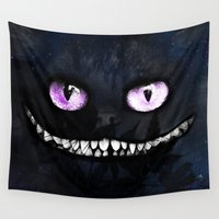 cheshire cat Wall Tapestries featuring CHESHIRE by Julien Kaltnecker