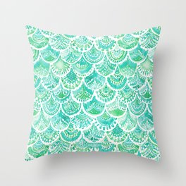 VENUS DE MER Aqua Mermaid Scales Throw Pillow