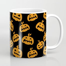 Abstract black bright orange halloween pumpkin pattern Coffee Mug