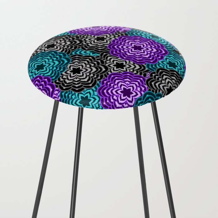Dahlia Multicolored Floral Abstract Pattern Counter Stool