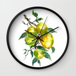 Lemon Fruits growing from a Tree Branch Wall Clock