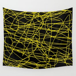 Black with yellow scribbling lines, happy yellow art, less is more Wall Tapestry