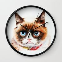 grumpy Wall Clocks featuring grumpy by AngelaArt