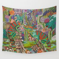 dragons Wall Tapestries featuring Rainforest Dragons by gwolly