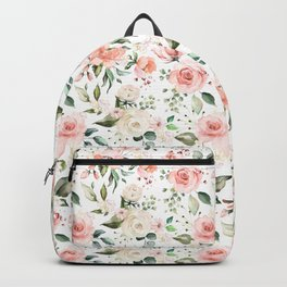 Sunny Floral Pastel Pink Watercolor Flower Pattern Backpack