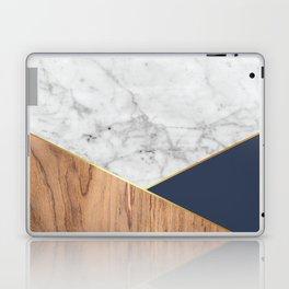White Marble - Wood & Navy #599 Laptop & iPad Skin