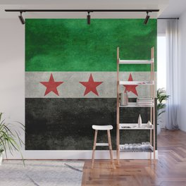Independence flag of Syria, vintage retro style Wall Mural