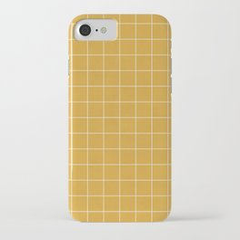 Small Grid Pattern - Mustard Yellow iPhone Case