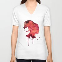 women V-neck T-shirts featuring Women by Marta Kozłowska