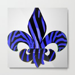 Fleur De Lis Blue Zebra Print Metal Print