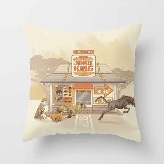 Fast Food (Jungle King) Throw Pillow