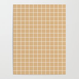Burlywood - brown color - White Lines Grid Pattern Poster