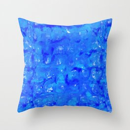 Tie Dye Shibori Water Cubes in Ocean Blue Throw Pillow